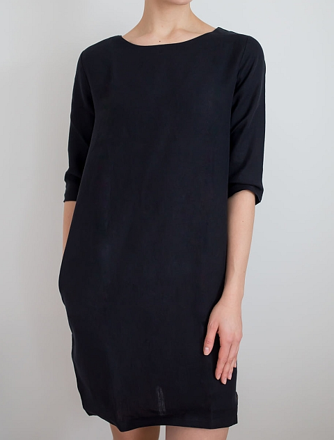 Blaa! Halla Woman Dress 3/4 sleeve Linen black