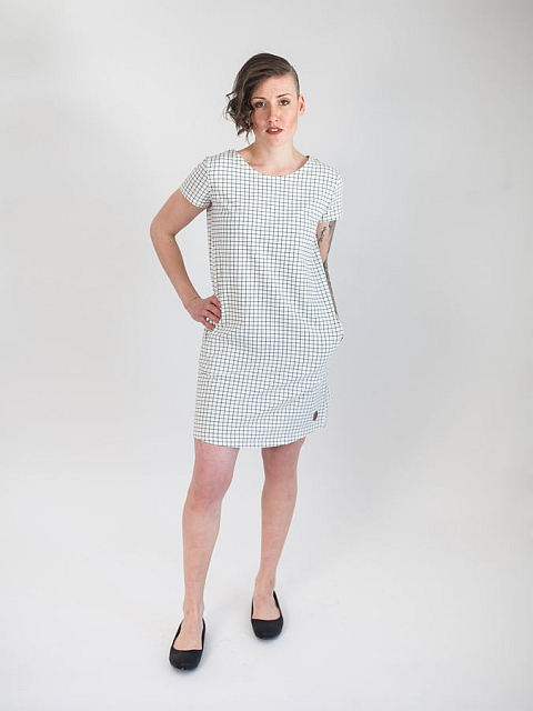 Blaa! White Grid Kalla Woman Dress