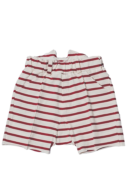 Booso Button Shorts ecru red