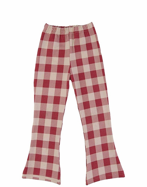 Dear Sophie Maroon checked Flares Red