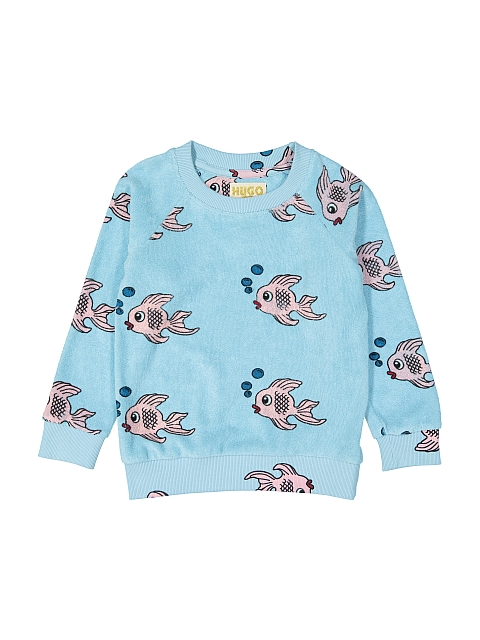 Hugo loves Tiki Terry sweatshirt Blue Fish
