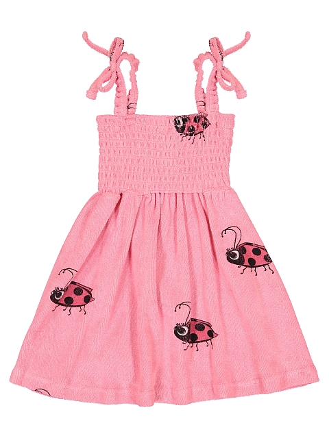 Hugo loves Tiki Terry 80's Dress Pink Ladybug