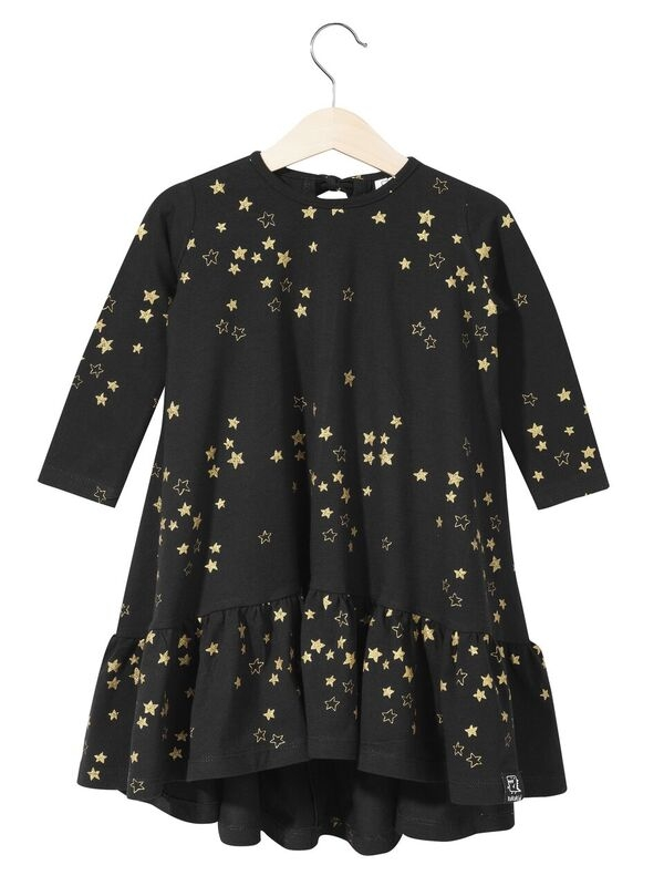 Kukukid Dancing Dress Golden Stars Black