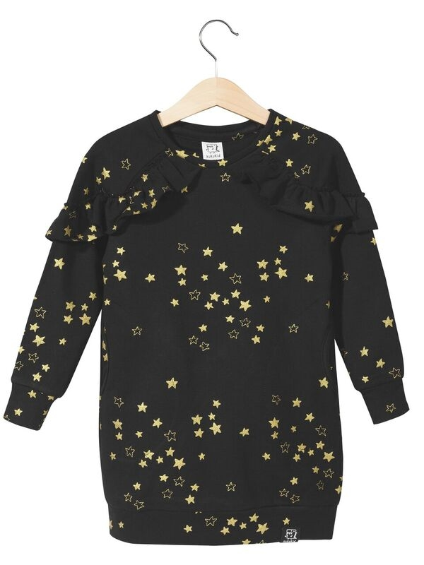 Kukukid Wings Dress Golden Stars Black