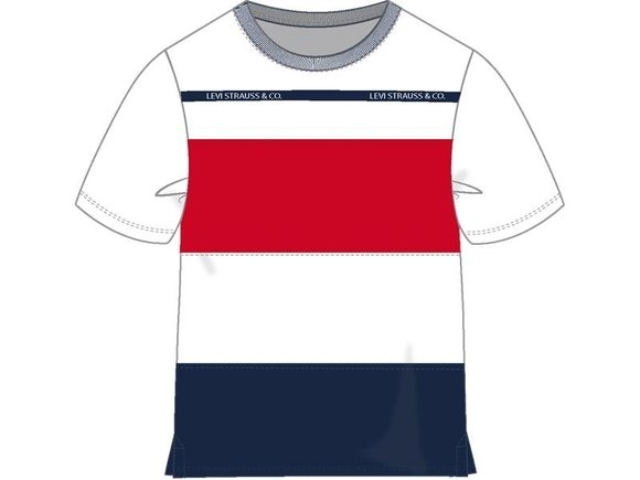 Levi's Striped Converstich T-shirt Navy/red/white