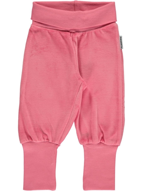 Maxomorra Pants Rib Rose pink velour