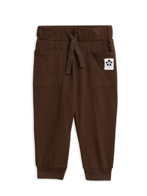 Mini Rodini  Solid cotton trousers brown