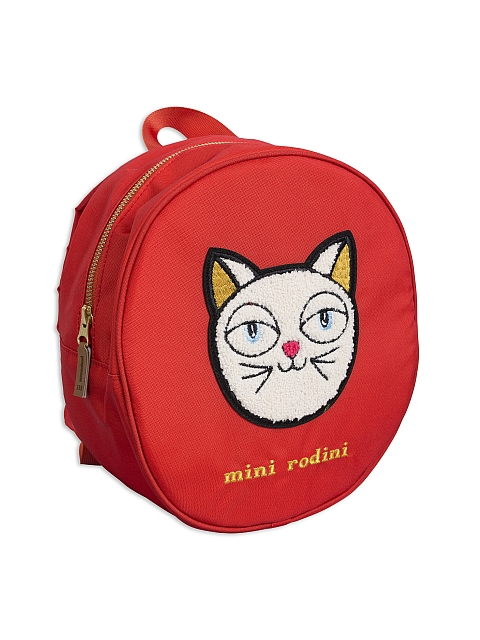 Mini Rodini  Cat backpack red