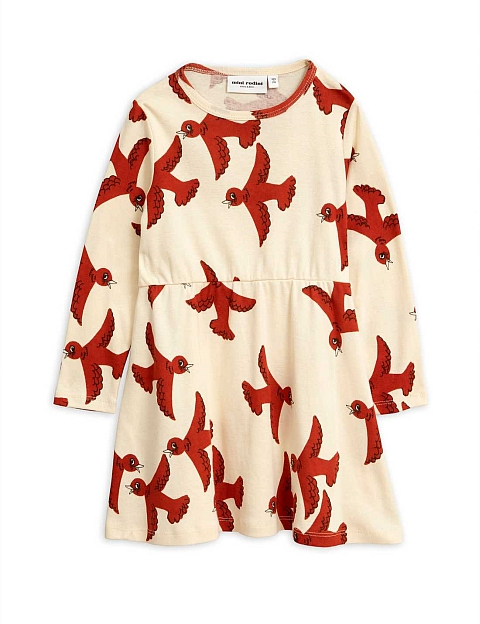 Mini Rodini  Flying birds Dress offwhite