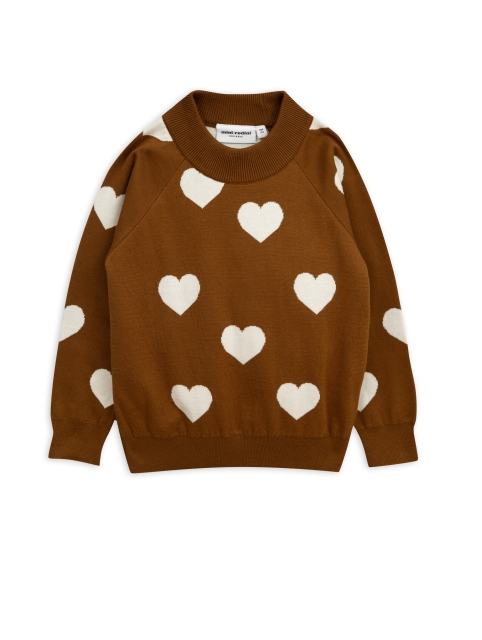 Mini Rodini  Knitted Sweater Heart Brown
