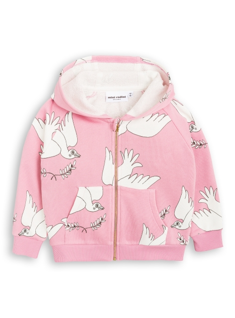 Mini Rodini Peace zip hood pink