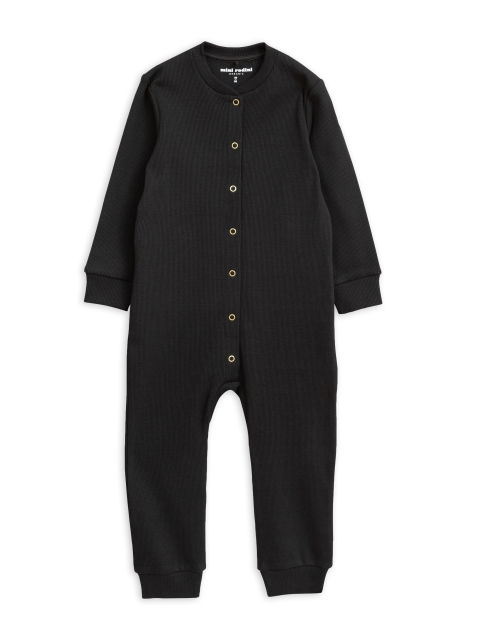 Mini Rodini Solid Rib Jumpsuit Black