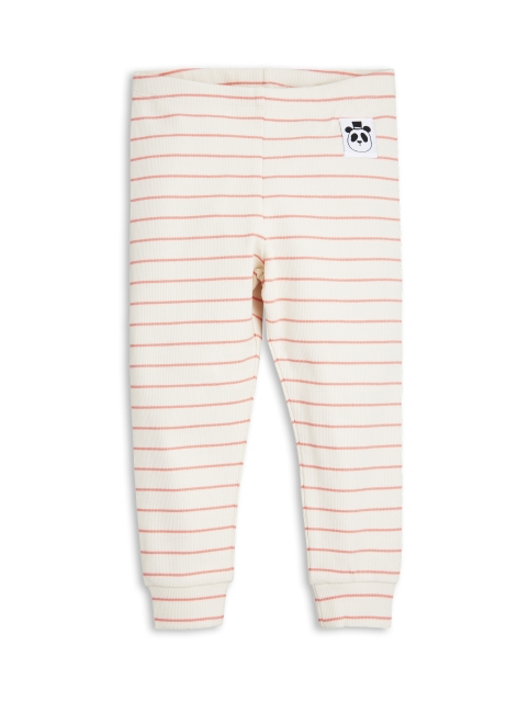 Mini Rodini Stripe rib Leggings Pink/off white