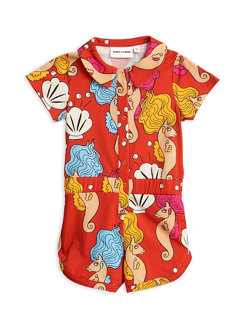 Mini Rodini   Seahorse Summersuit Red