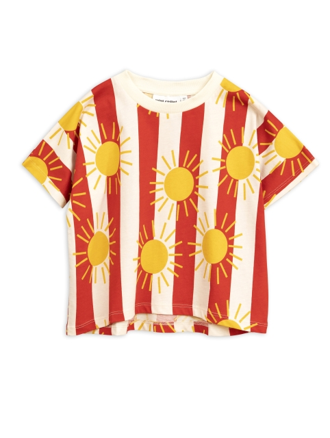 Mini Rodini   Sun stripe aop ss Tee Red