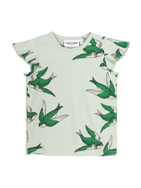 Mini Rodini Swallows Wing Tee Green