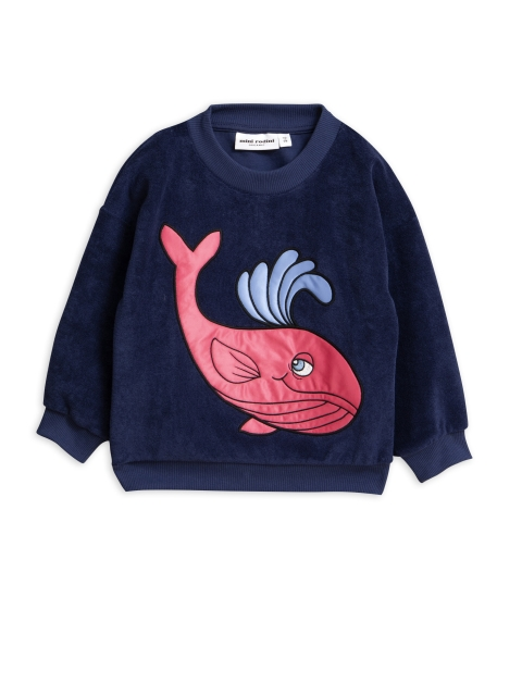 Mini Rodini   Whale Terry sweatshirt Navy
