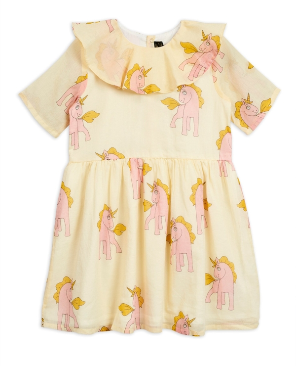 Mini Rodini Unicorns woven woven dress Yellow