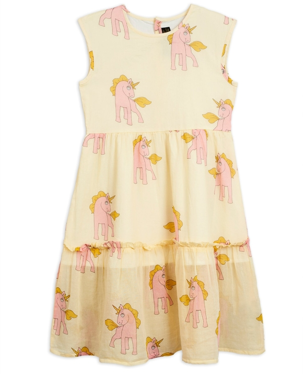 Mini Rodini Unicorns woven long dress Yellow