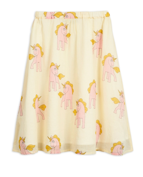 Mini Rodini Unicorns woven long skirt Yellow