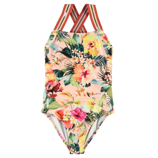 Molo Kids Neve swimsuit Hawaiian Flowers UPF 50+