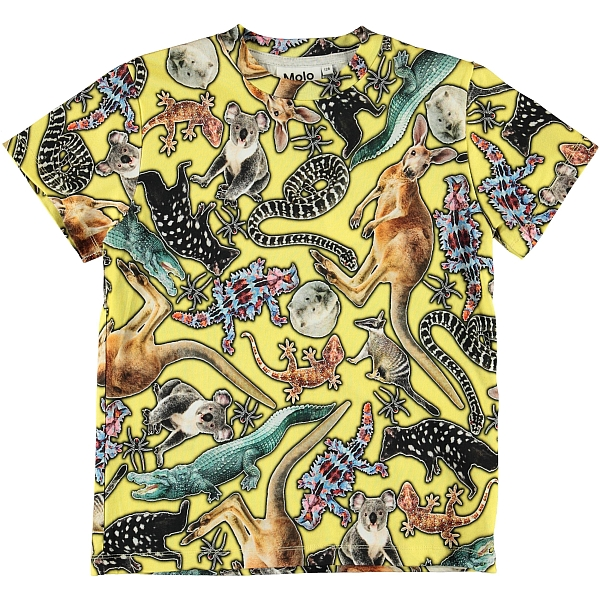 Molo Kids Roxo Yellow Animals T-shirt