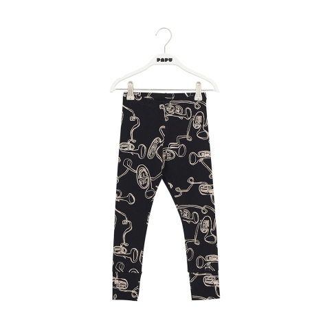 Papu Fold Leggings Baritone black, white sand