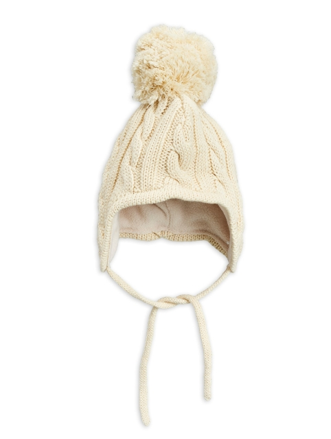 Mini Rodini  Cable Knitted Baby Hat Offwhite