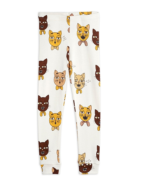 Mini Rodini Cat choir aop Leggings offwhit