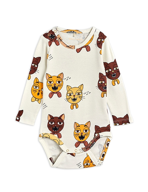 Mini Rodini Cat choir aop ls body offwhite