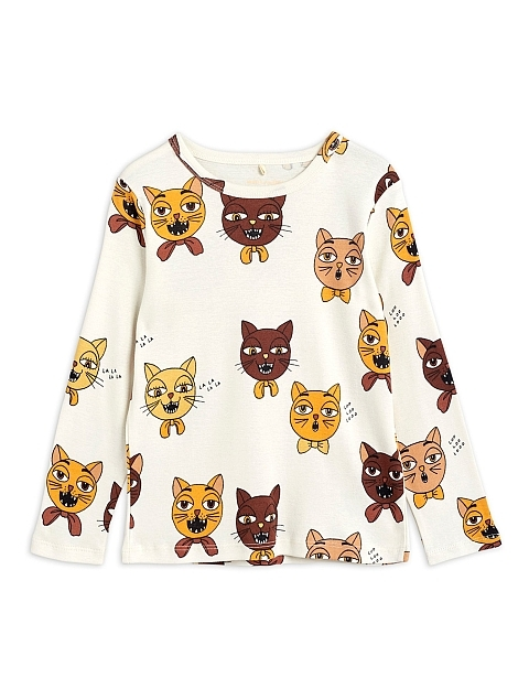 Mini Rodini Cat choir aop ls tee offwhite