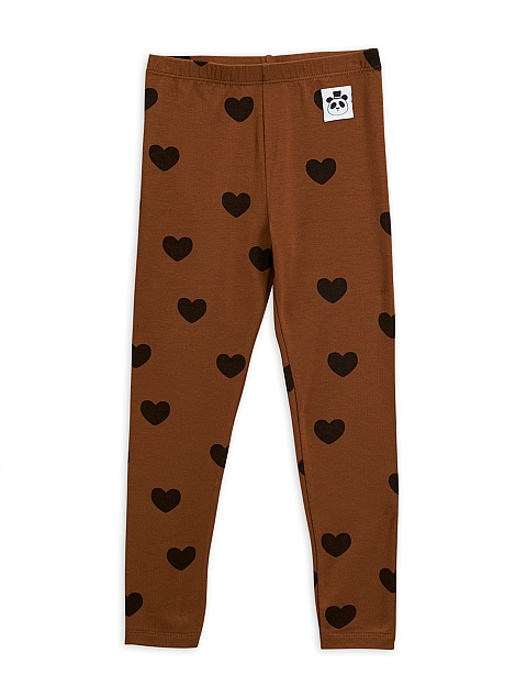 Mini Rodini Hearts Tencel aop Leggings brown