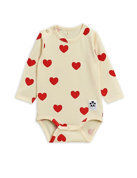 Mini Rodini Hearts ls Body offwhite Tencel