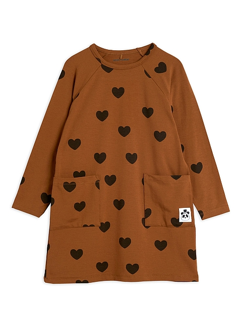 Mini Rodini Hearts ls dress brown