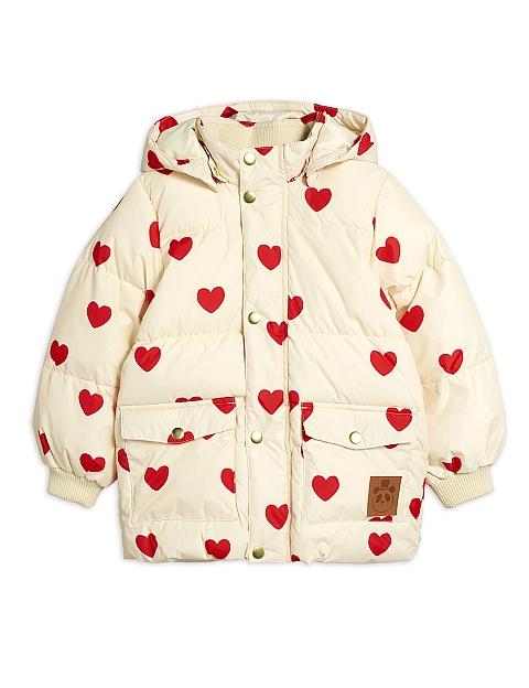 Mini Rodini  Heart puffer jacket offwhite