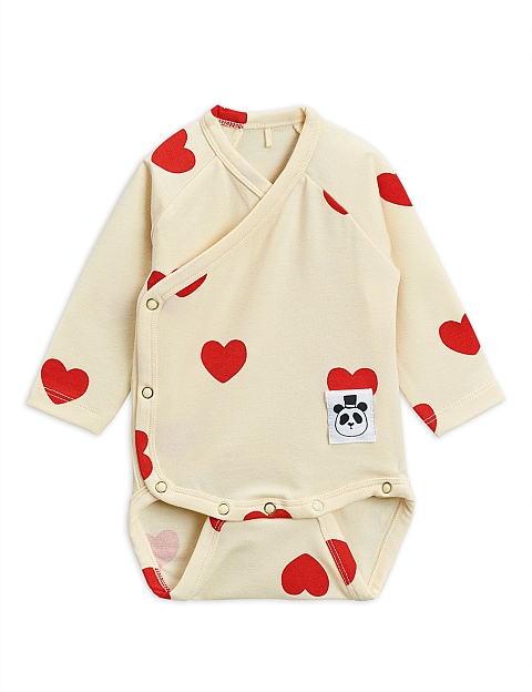 Mini Rodini Hearts Wrap Body offwhite Tencel