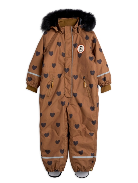 Mini Rodini  Kebnekaise Hearts Snowsuit Brown