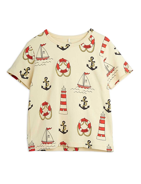 Mini Rodini Lighthouse aop ss tee Yellow