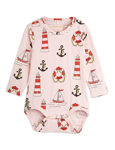 Mini Rodini Lighthouse aop ls body pink