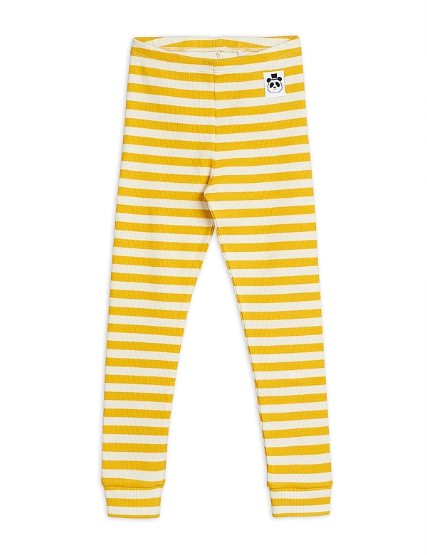 Mini Rodini Stripe rib leggings Yellow white