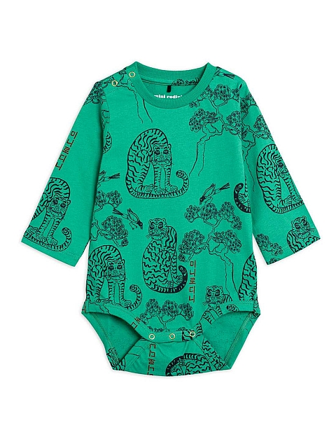 Mini Rodini Tigers aop LS body Green