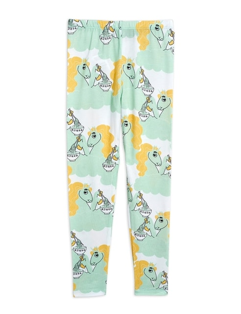 Mini Rodini Unicorn noodles aop Leggings Green tencel