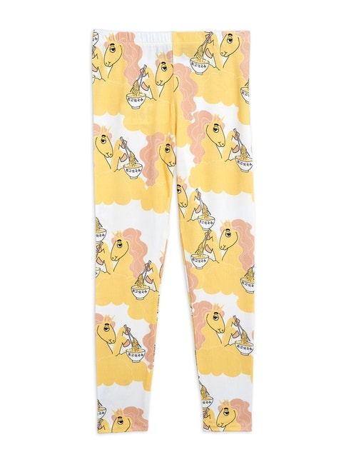 Mini Rodini Unicorn noodles aop Leggings Yellow