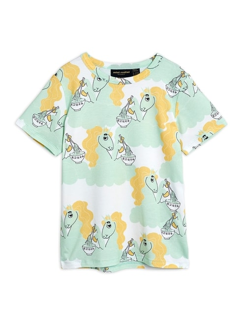 Mini Rodini Unicorn noodle aop ss tee green