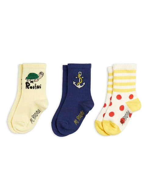 Mini Rodini  Anchor 3 pack socks