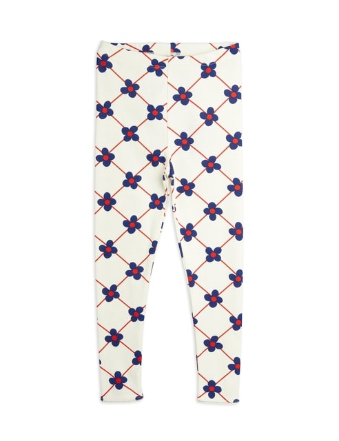 Mini Rodini Flower check aop Leggings offwhite