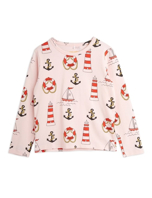 Mini Rodini Lighthouse aop Ls Tee Pink