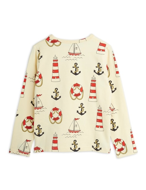 Mini Rodini Lighthouse aop Ls Tee Yellow