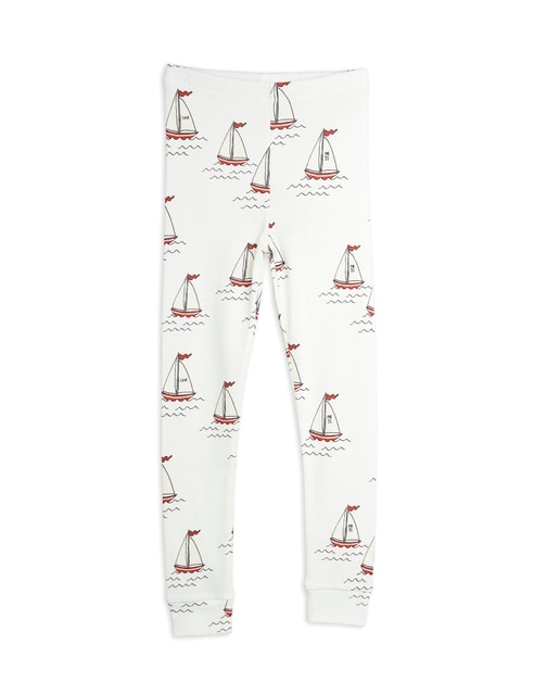 Mini Rodini Sailing boats aop Leggings white